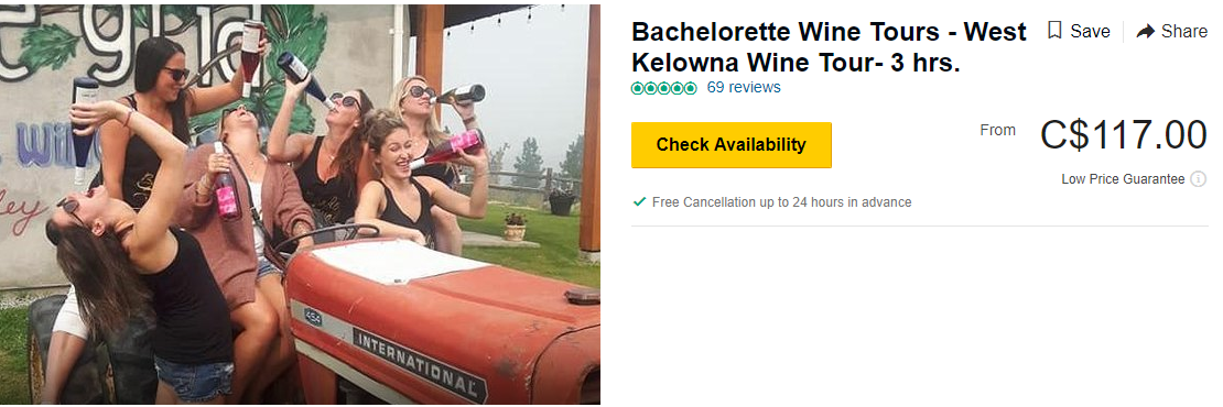 Bachelorette Wine Tours- West Kelowna Wine Tour -3 hrs.